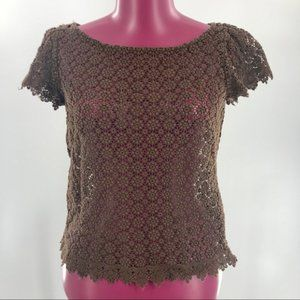 Milly of New York Crochet Eyelet Lace Top sz 4